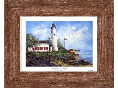 (Framed Sturgeon Point Light- 8x6 Inches - Art Print (Brown Barnwood Frame))