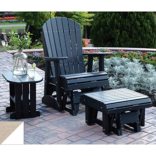 LuxCraft 2' Poly Adirondack Glider Chair with Footrest and Side Table, Recycled Plastic Outdoor Furniture 3 Piece Set (Birch & White) Birch Set Side Table