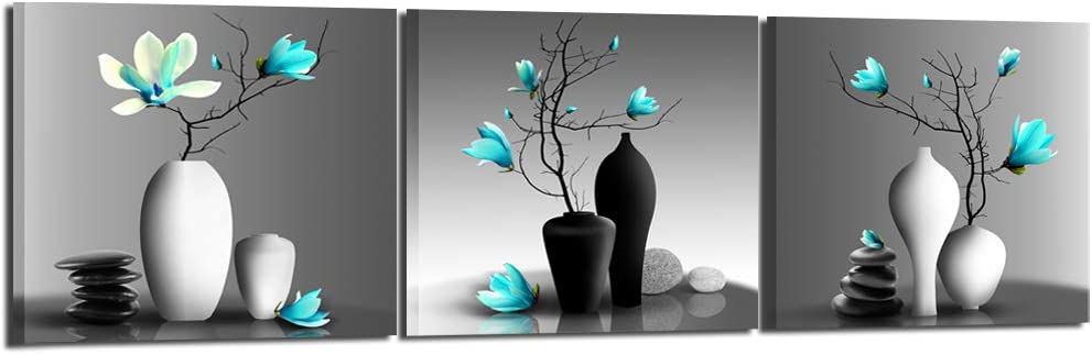 Nachic Wall - Modern Flower Painting Teal Orchid Wall Art Framed Set of 3 Zen Stones Turquoise Floral Pictures for Home Living Room Bedroom Spa Decoration Ready to Hang