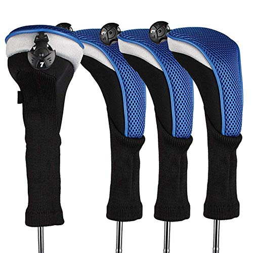 (Golf Club Head Covers Woods Hybrids Value 3/4 Pack, Headcovers Men Women Long Neck 3 5 7 X with Interchangeable Number Tag, Fit All Hybrid Clubs Nike Ping Mizuno Titleist (Blue, 4 Pack Hybrid Cover))