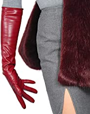 DooWay Women's Fashion Long Soft Leather Gloves Faux Leather PU Burgundy Fancy Evening Opera Gl