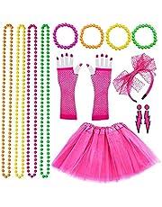 Jaren 80-kleding, neon-partyoutfit, jaren 80, voor dames, accessoires, feestaccessoires met regenboogjurk, handschoenen, armbanden, halskettingen, kant, strik, hoofdband, voor vrouwen, carnaval