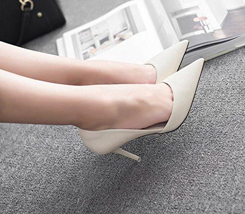 La buena Los 35 zapatos Albaricoque cara 8cm elegante talones Sandalias vacío una 37 zapatos Transpirable Sexy única Moda zapatos Discoteca Ajunr Con de punta chica RfOqpwIO