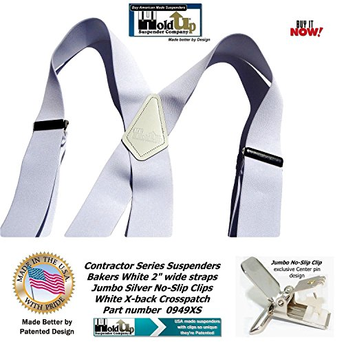 Contractor Series 2'' Wide Work X-back Suspenders in Bakers White with jumbo No-Slip Patented Clips by Hold-Up Suspender Co. (Image #8)