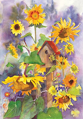 Toland Home Garden Birdhouse and Sunflowers 28 x