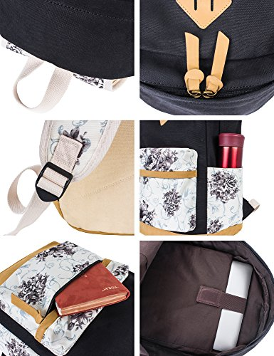Leaper Casual Style Lightweight Canvas Laptop Backpack Cute School Bookbags Rose1