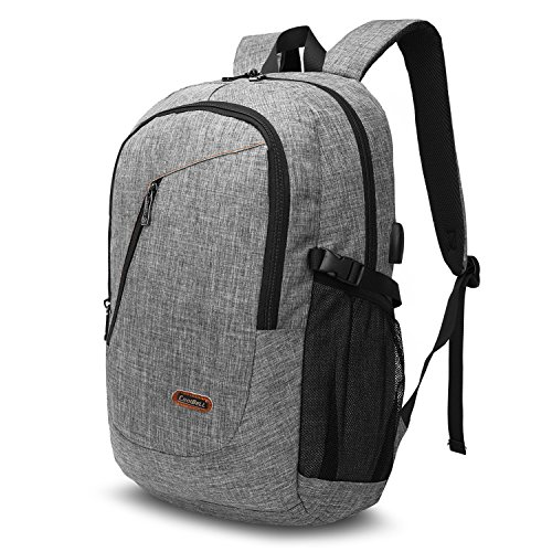 CoolBELL Laptop Backpack With USB Charging Port/Outdoor Travel Rucksack/Water-resistant Knapsack/Protective Day Pack School Backpack Fits 17.3 Inches Laptop For Men/Women/College/(Grey) by CoolBELL