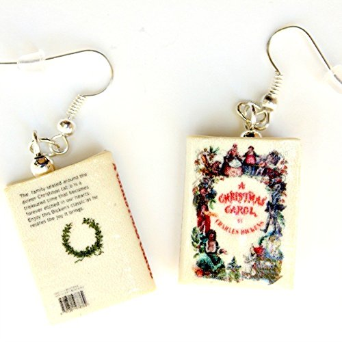 [A Christmas Carol Charles Dickens Polymer Clay Mini Book Earrings by Book Beads Choose Your Earring] (Home Made Angel Costumes Kids)