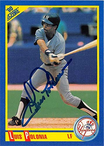 1990 Score Autographed Card - Luis Polonia autographed baseball card (New York Yankees) 1990 Score #442 - Baseball Slabbed Autographed Cards