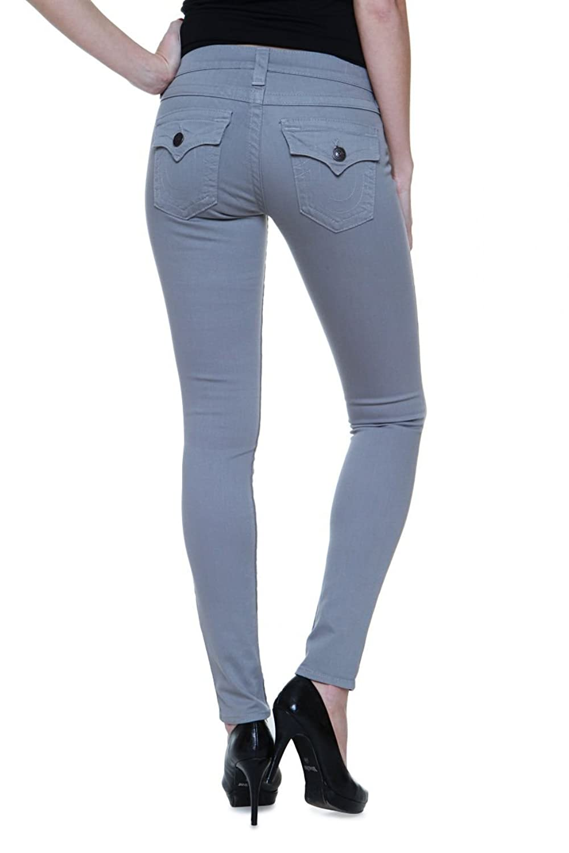 True Religion Damen Jeans Skinny Skinny Jeans SERENA MID RISE SPR SKI Wash HW SEAL , Farbe: Grau