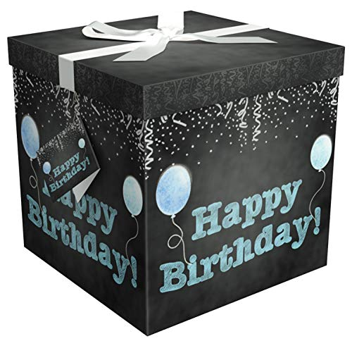 (Gift Box 12x12x12 Amrita Birthday Pop up in Seconds Comes with Decorative Ribbon Mounted on The lid A Gift Tag and Tissue Paper - No Glue or Tape Required)