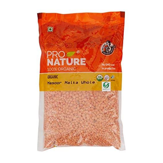 Pro Nature 100% Organic Masoor Malka Whole, 500g