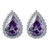 EVER FAITH Women's Cubic Zirconia Wedding Teardrop Prong Setting Stud Earrings Purple Silver-Tone