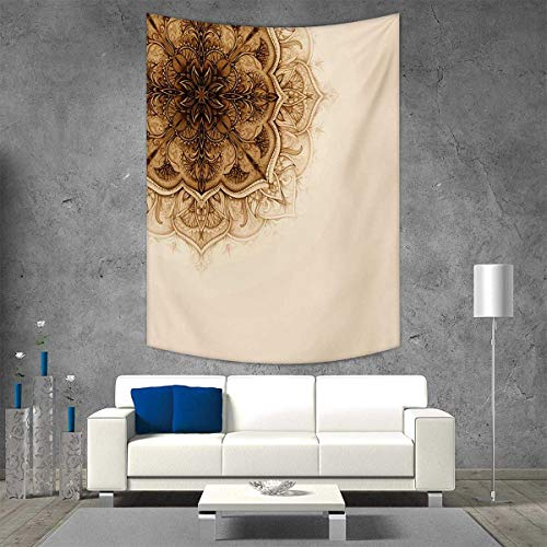 smallbeefly Henna Vertical Version Tapestry Vintage Hand Drawn Style Mandala Artwork Corner Ornament Ottoman Culture Art Elements Throw, Bed, Tapestry, or Yoga Blanket 70W x 93L INCH Tan Brown