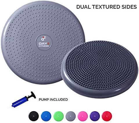 """Day 1 Fitness 13"""" Inflatable Wobble Cushion with Pump, 7 Colors Available - Durable Exercise Balance Pad for Coordination, Stability, and Core - Balancing Disc Cushions for Home, Gym, School, Rehab"""