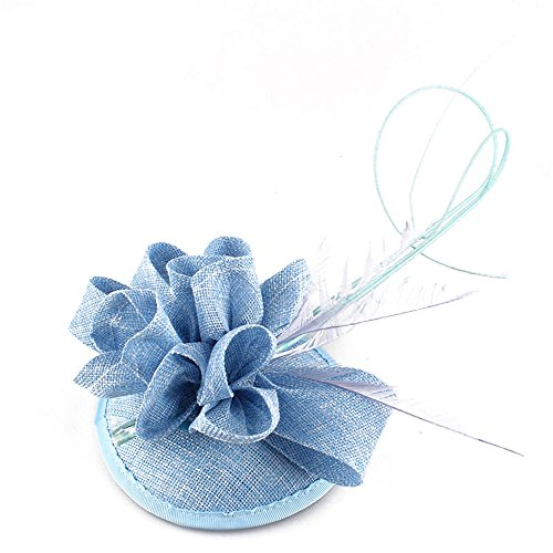 New ARRIVAL 15 colors 2017 Feather Wedding Hat Girl imitation Sinamay Fascinators Design with Special Shape Fashion Headpiece SYF116 (light blue) by YONQUIL
