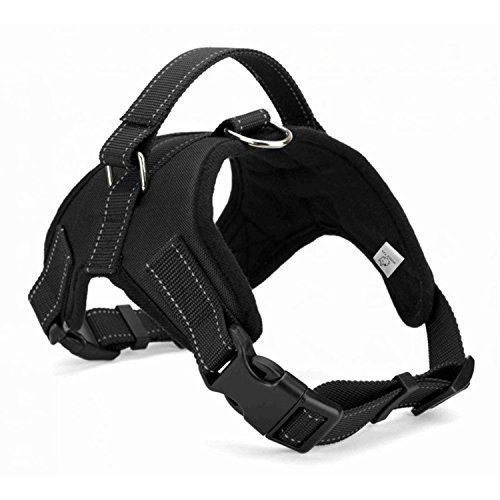WIGGLE TAIL No Pull Dog Harness with handle, Reflective Adjustable Vest Harness for Small/Medium/Large dogs in Training Walking and Hiking(Black Oxford, Medium)