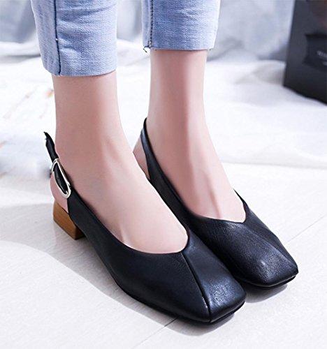 cabeza cuadrada fiesta del verano mujeres de los zapatos de la abuela con las sandalias de la hebilla de las sandalias de tacón bajo Black