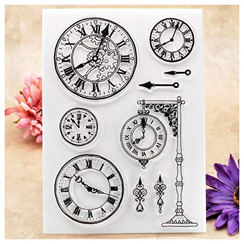 (Kwan Crafts Clock Clear Stamps for Card Making Decoration and DIY Scrapbooking)