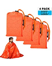 Shayson Emergency Blanket, Mylar Survival Blanket set, waterproof Foil Space Blanket for Outdoors, Camping, Hiking,Climbing, First Aids(4 Pack)