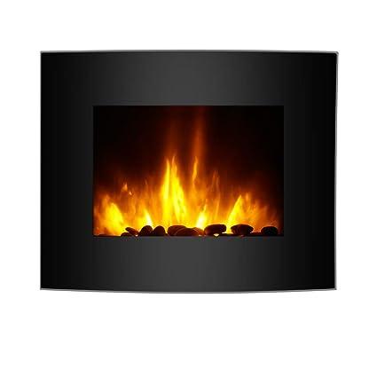 Finether Chimenea Eléctrica, Estufa Eléctrica, Calentador 1800 W, Temperatura Ajustable, 7 Colores de Llama 3D Intercambiable, Retroiluminación LED, ...