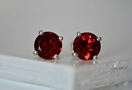 Garnet earrings for women ~ Gift for January birthday ~ Birthstone earrings January ~ Tiny gemstone stud earrings ~ Garnet studs