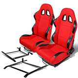 Pair of RS-001-BK-RD Woven Fabric Reclinable Racing Seat+Bracket for Nissan 350Z
