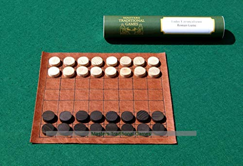Masters Traditional Games Roman Ludus Latrunculi - Leather Board with Wooden Pieces