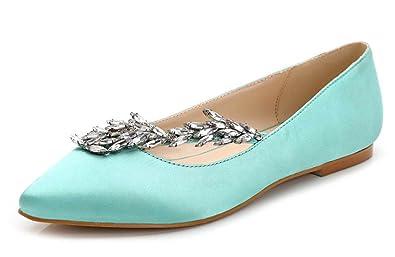 Aisun Damen Strass Spitz Satin Flache Schuhe Slipper Loafers Blau 35 EU UAUPOlSW