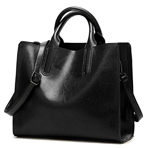 Pelle Pu Tracolla Messenger Tote Borse Bags Di Lavoro Black Per Signore Borsa manico Donne Capacità Grandi A Top In Delle La q7It4I