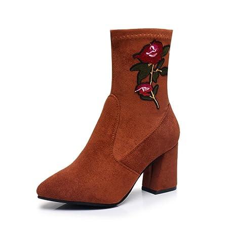 Best 4U® Zapatos de mujer Gamuza Bordado Flor Botas de otoño de invierno Botas Botines