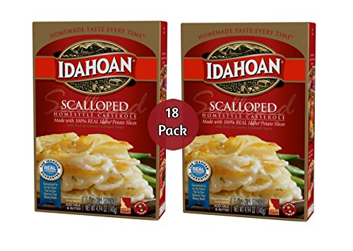 Idahoan Scalloped Homestyle Casserole with Reach & Creamy Scalloped Sauce, Idaho Grown, 100% Real - 18 Pack (4.94oz)