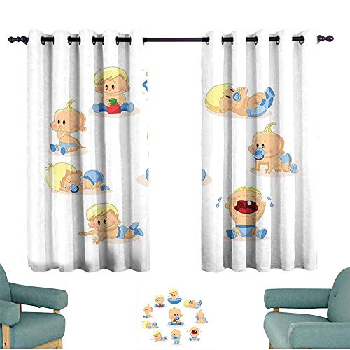 HCCJLCKS Polyester Curtain Baby Baby Boy Crying Walking Playing with Toys Sleeping Goofy Infant Person Happy Thermal Insulated Tie Up Curtain W55 xL63 Ivory Pale Blue ()