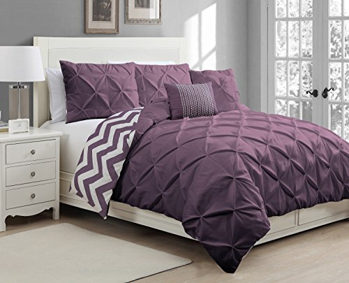 Venice Comforter Set (Avondale Manor 5 Piece Venice Pinch Pleat Duvet Set, Queen, Plum)