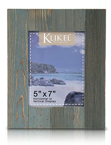Klikel Distressed Wood 5 X 7 Picture Frame - Blue Solid Wooden Wall Hanging And Table Standing Photo Frame - TASTEFULLY DISTRESSED: The 5 x 7 blue frame has a vintage, weathered design to provide a sophisticated and classic touch to your décor. SOLID WOOD: Made with premium quality materials the wooden frame will be a long-lasting way to showcase your favorite memories. REAL GLASS: The photos are protected by real glass, not acrylic or synthetics, for a beautifully clear sheen and superior protection. - picture-frames, bedroom-decor, bedroom - 51ytnYlx%2BdL -