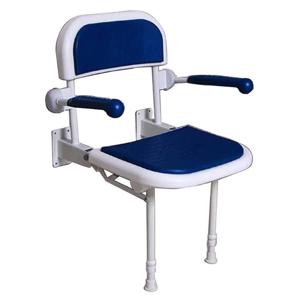 BEAUTY--shower stool ,Elderly/Pregnant Women Non-Slip Bath Chair with Backrest,Bathroom Folding Wall Bench with Flexible Armrests