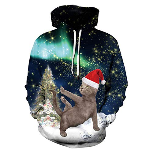 GRACIN Unisex Christmas Sweatshirt Cat, 3D Printed Funny
