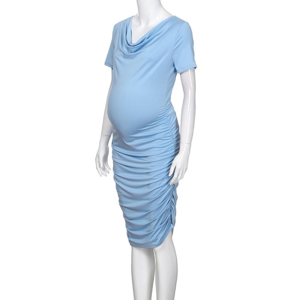 Cinnamou Premamá vestido mujeres embarazadas vestido de Plisado la falda de las mujeres de manga corta: Amazon.es: Ropa y accesorios
