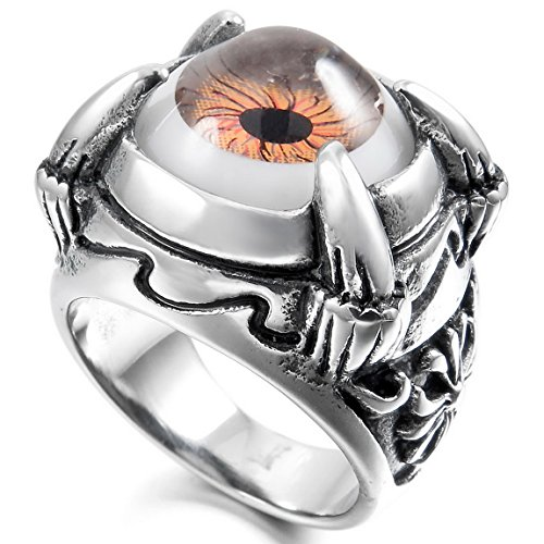 (INBLUE Men's Stainless Steel Ring Brown Black Silver Tone White Dragon Claw Evil Devil Eye Cross Size9)