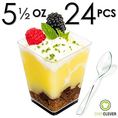 Chef Clever 24 Count Clear Plastic Square Dessert Cups with Recipe eBook, Large (5 oz. Mini Cube with Spoons)