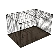 IRIS Wire Containment Pen for Dogs, Large, Brown
