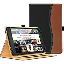MoKo Universal Case for 7 - 8 Inch Tablet- Slim Folding Stand Folio Cover PU Leather Protective Case for 7 - 8 Inch Touchscreen Tablet with Document Card Slots and Stylus Pen Loop, Black & Brown