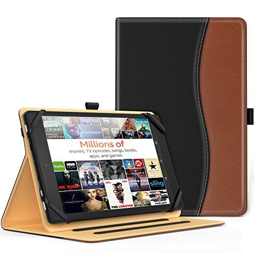 for 7 - 8 Inch Tablet- Slim Folding Stand Folio Cover PU Leather Protective Case for 7 - 8 Inch Touchscreen Tablet with Document Card Slots and Stylus Pen Loop, Black & Brown ()