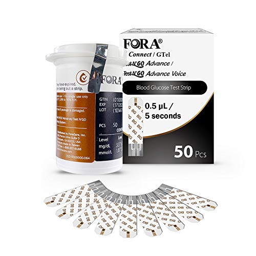 FORA 6 Connect 50 Blood Glucose Test Strips, Accurate Blood Sugar Measurement for Diabetes