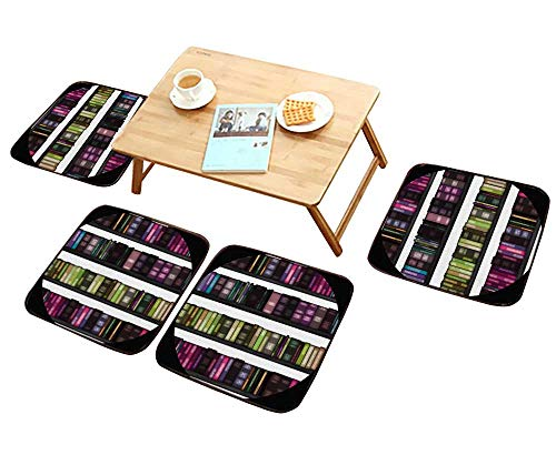 Chair Cushions Seamless Book Shelf Text ure as a Penang Malaysia Personalized Durable W15.5 x L15.5/4PCS Set ()