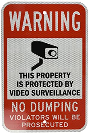 "SmartSign 3M High Intensity Grade Reflective Sign, Legend ""Warning: Video Surveillance No Dumping"" with Graphic, 18"" high x 12"" wide, Black/Red on White"