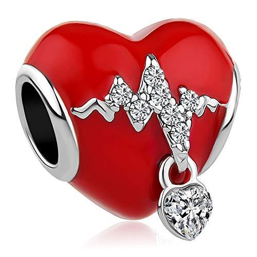 Charmed Craft Heart Love Heartbeat Charms Red Enamel Beads for Snake Chain Bracelets (Heartbeat) (Pandora Nurse Charm)