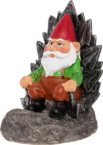GreenLighting Light Up Gnome on a Throne Garden Gnome - Novelty Solar Powered Lawn Ornament Figurine (Yard Gnome Ornaments)