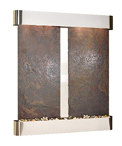 - Cottonwood Falls Water Feature with Stainless Steel Trim and Round Edges (Natural Multi-color Slate)