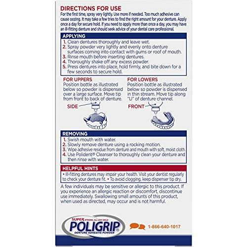 Super Poligrip Extra Strength Denture Adhesive Powder, 1.6 ounce (Pack of 6) (Packaging may vary) by Super Poli-Grip (Image #1)